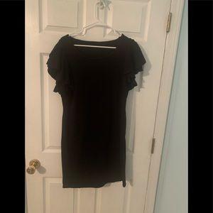 Black ruffle sleeve knit dress